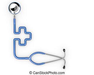 стетоскоп, в виде, символ, of, medicine.