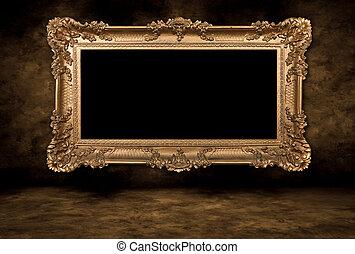 стиль, барокко, картина, пустой, рамка