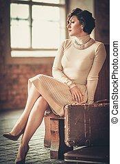 стиль, женщина, марочный, молодой, железнодорожная станция