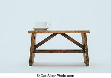 стиль, жизнь, скамейка, кафе, кружка
