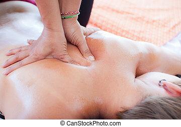 стиль, масло, растягивание, massage., глубоко, массаж,...