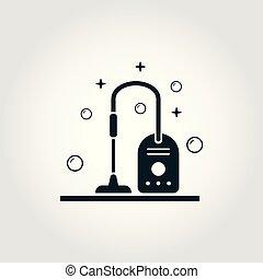 стиль, icons, collection., символ, isolated, дизайн, уборка, вакуум, монохромный, icon.