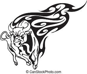 стиль, image., племенной, -, вектор, бык