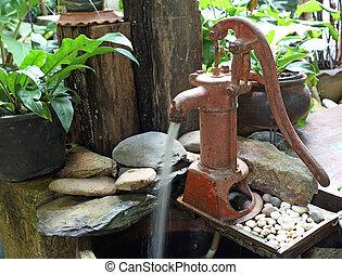 стиль, -, pump), рука, воды, насос, ретро, (old
