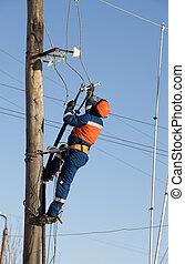 столб, авария, электрический, eliminates