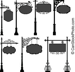 столб, улица, вывески, рамка, знак