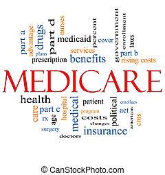 страхование здоровья по старости, концепция, слово, облако
