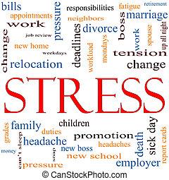 стресс, концепция, слово, облако