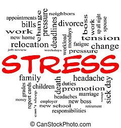 стресс, концепция, слово, caps, облако, красный