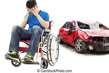 стресс, and, отключен, пациент, with, автомобиль, авария, концепция