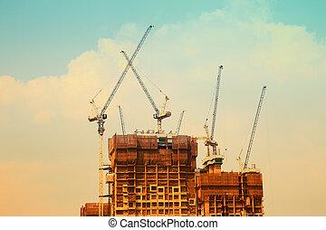 строительство, кран, and, , здание