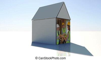 строительство, and, здание, монтаж