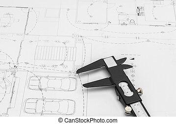 строительство, plans, and, рисование, инструменты, на, blueprints, .