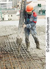 строитель, работник, заливка, бетон, into, форма