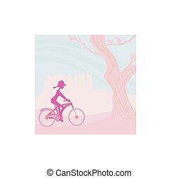 стройное, женщина, with, велосипед, в, парк
