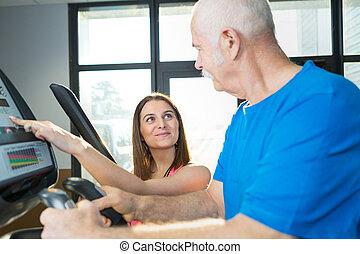 студия, гулять пешком, старшая, человек, фитнес, тренер