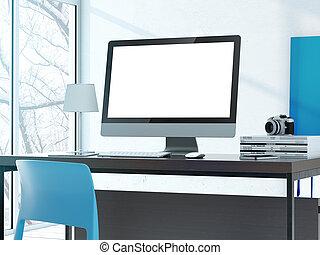 студия, современное, компьютер, таблица