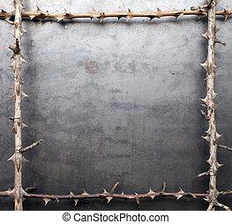 сухой, ветви, рамка, металл, текстура, колючий, задний план