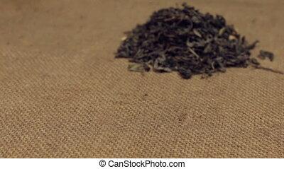 сухой, крупный план, чай, burlap., зум, свая, leafs, зеленый, лежащий, approaching