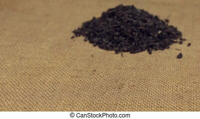 сухой, крупный план, чай, burlap., зум, свая, leafs, черный, лежащий, approaching