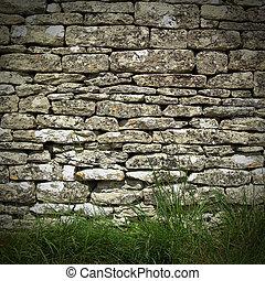 сухой, стена, камень