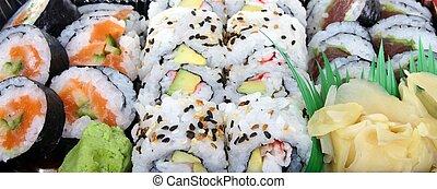 суши, традиционный, японский, питание, -, питание, баннер