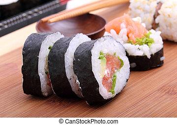 суши, япония, традиционный, питание, рулон