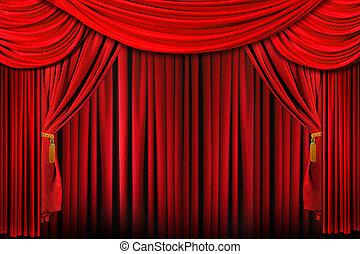 сцена, в, яркий, красный, драматичный, осветительные приборы