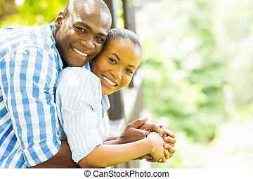счастливый, африканец, американская, пара