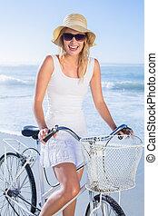 счастливый, блондинка, велосипед, ri, безумно красивая