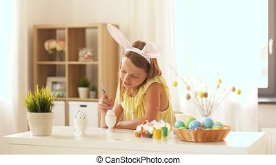 счастливый, девушка, coloring, пасха, eggs, в, главная