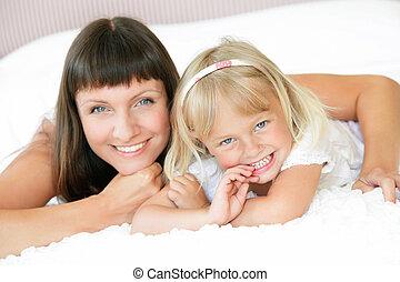 счастливый, дочь, мама