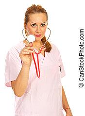 счастливый, женщина, врач