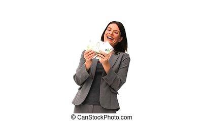 счастливый, женщина, держа, ее, денежные средства