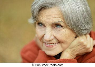счастливый, женщина, пожилой