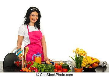 счастливый, женщина, шеф-повар