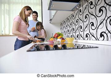 счастливый, молодой, семья, в, кухня