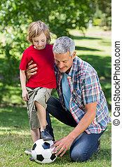 счастливый, отец, playing, в, , мяч, with, his, сын