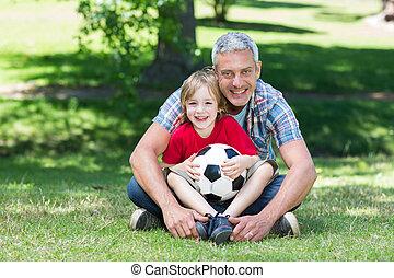 счастливый, отец, with, his, сын, в, , п