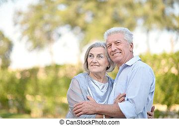 счастливый, пара, старшая
