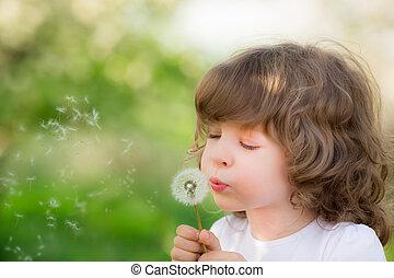 счастливый, ребенок, blowing, одуванчик