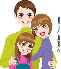счастливый, семья, люблю