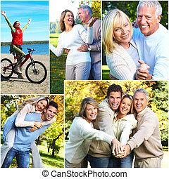 счастливый, семья, collage.