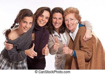счастливый, семья, of, женщины