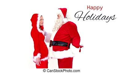 счастливый, текст, giving, подарок, holidays, женщина, санта