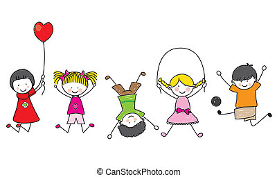 счастливый, kids, playing