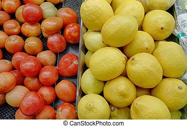 счетчик, with, овощной, and, фрукты, в, супермаркет