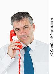 с помощью, красный, телефон, бизнесмен