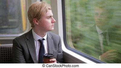 с помощью, поезд, к, ездить