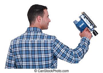 с помощью, человек, шлифовальная машинка, powered